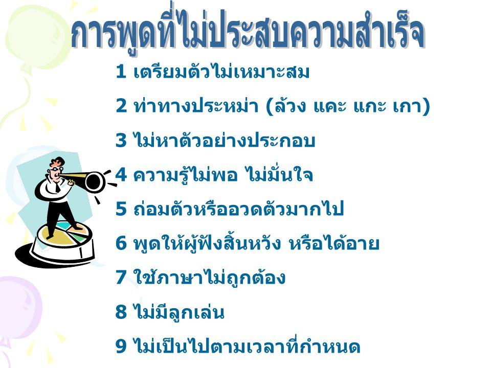 1 เตรียมตัวไม่เหมาะสม 2 ท่าทางประหม่า (ล้วง แคะ แกะ เกา) 3 ไม่หาตัวอย่างประกอบ 4 ความรู้ไม่พอ ไม่มั่นใจ 5 ถ่อมตัวหรืออวดตัวมากไป 6 พูดให้ผู้ฟังสิ้นหวัง หรือได้อาย 7 ใช้ภาษาไม่ถูกต้อง 8 ไม่มีลูกเล่น 9 ไม่เป็นไปตามเวลาที่กำหนด