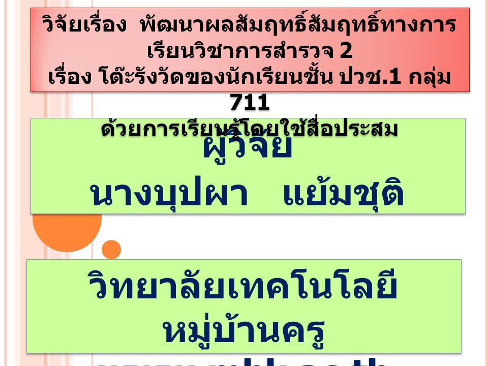 ผู้วิจัย นางบุปผา แย้มชุติ ผู้วิจัย นางบุปผา แย้มชุติ วิทยาลัยเทคโนโลยี หมู่บ้านครู www.mbk.ac.th วิทยาลัยเทคโนโลยี หมู่บ้านครู www.mbk.ac.th วิจัยเรื