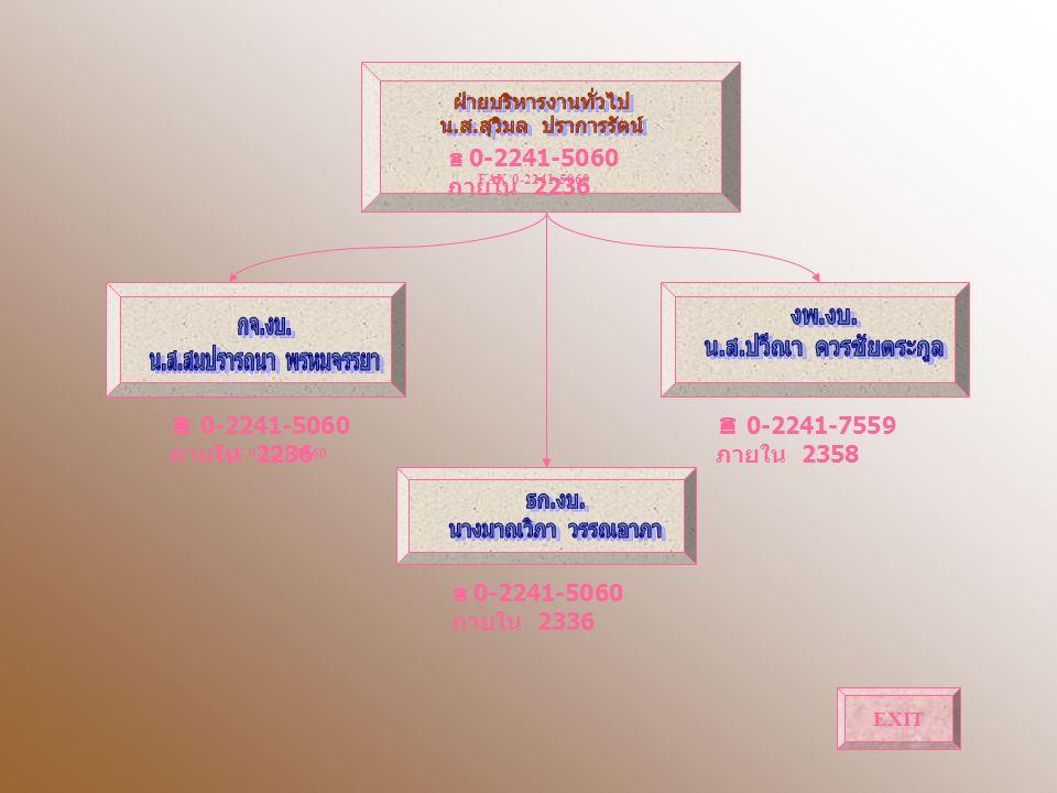 0-2241-5060 ภายใน 2336  0-2241-7559 ภายใน 2358  0-2241-5060 ภายใน 2236 FAX 0-2241-5060  0-2241-5060 ภายใน 2236 FAX 0-2241-5060 EXIT