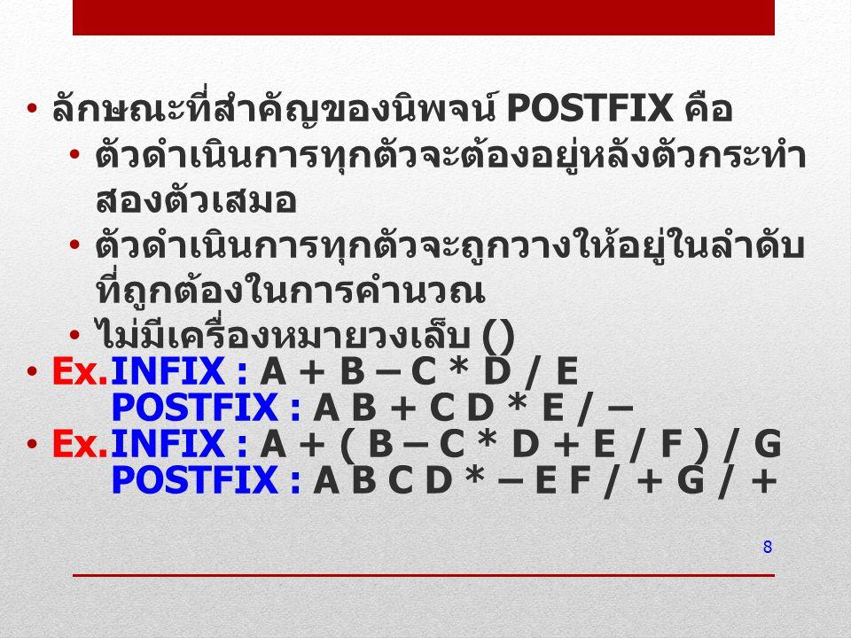 ลักษณะที่สำคัญของนิพจน์ POSTFIX คือ ตัวดำเนินการทุกตัวจะต้องอยู่หลังตัวกระทำ สองตัวเสมอ ตัวดำเนินการทุกตัวจะถูกวางให้อยู่ในลำดับ ที่ถูกต้องในการคำนวณ