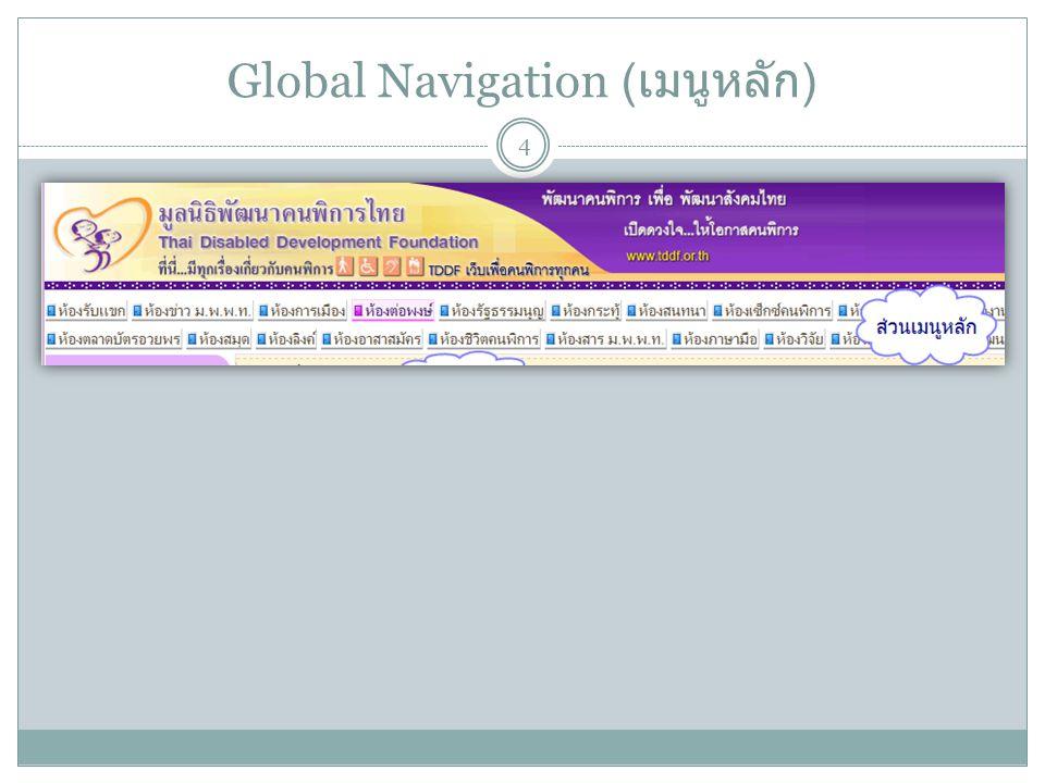 Global Navigation ( เมนูหลัก ) 4