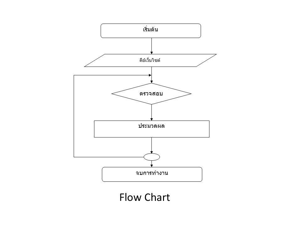 Flow Chart เริ่มต้น คีย์เว็บไซต์ ตรวจสอบ ประมวลผล จบการทำงาน