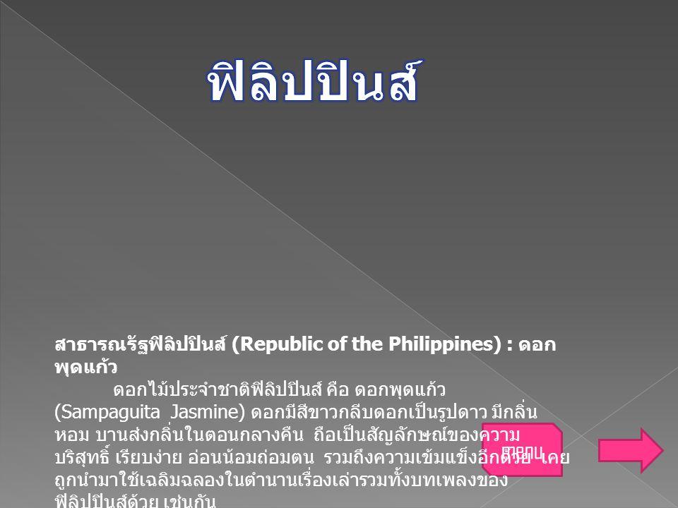 สาธารณรัฐฟิลิปปินส์ (Republic of the Philippines) : ดอก พุดแก้ว ดอกไม้ประจำชาติฟิลิปปินส์ คือ ดอกพุดแก้ว (Sampaguita Jasmine) ดอกมีสีขาวกลีบดอกเป็นรูป