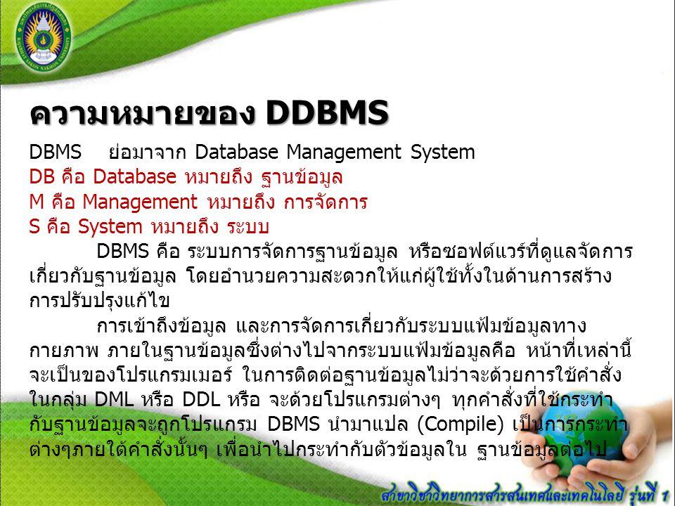 หน้าที่ของ DBMS 1.) ทำหน้าที่แปลงคำสั่งที่ใช้จัดการกับข้อมูลภายในฐานข้อมูลให้อยู่ใน รูปแบบที่ข้อมูลเข้าใจ 2.) ทำหน้าที่ในการนำคำสั่งต่างๆ ซึ่งได้รับการแปลแล้วไปสั่งให้ฐานข้อมูล ทำงาน เช่น การเรียกใช้ข้อมูล (Retrieve) การจัดเก็บข้อมูล (Update) การ ลบข้อมูล (Delete) หรือ การเพิ่มข้อมูลเป็นต้น (Add) ฯลฯ 3.) ทำหน้าที่ป้องกันความเสียหายที่จะเกิดขึ้นกับข้อมูลภายในฐานข้อมูล โดยจะคอยตรวจสอบว่าคำสั่งใดที่สามารถทำงานได้และคำสั่งใดที่ไม่ สามารถทำได้ 4.) ทำหน้าที่รักษาความสัมพันธ์ของข้อมูลภายในฐานข้อมูลให้มีความ ถูกต้องอยู่เสมอ 5.) ทำหน้าที่เก็บรายละเอียดต่าง ๆ ที่เกี่ยวข้องกับข้อมูลภายในฐานข้อมูล ไว้ใน Data dictionary ซึ่งรายละเอียดเหล่านี้มักจะถูกเรียกว่า ข้อมูลของ ข้อมูล (Meta Data) 6.) ทำหน้าที่ควบคุมให้ฐานข้อมูลทำงานได้อย่างถูกต้องและมี ประสิทธิภาพ