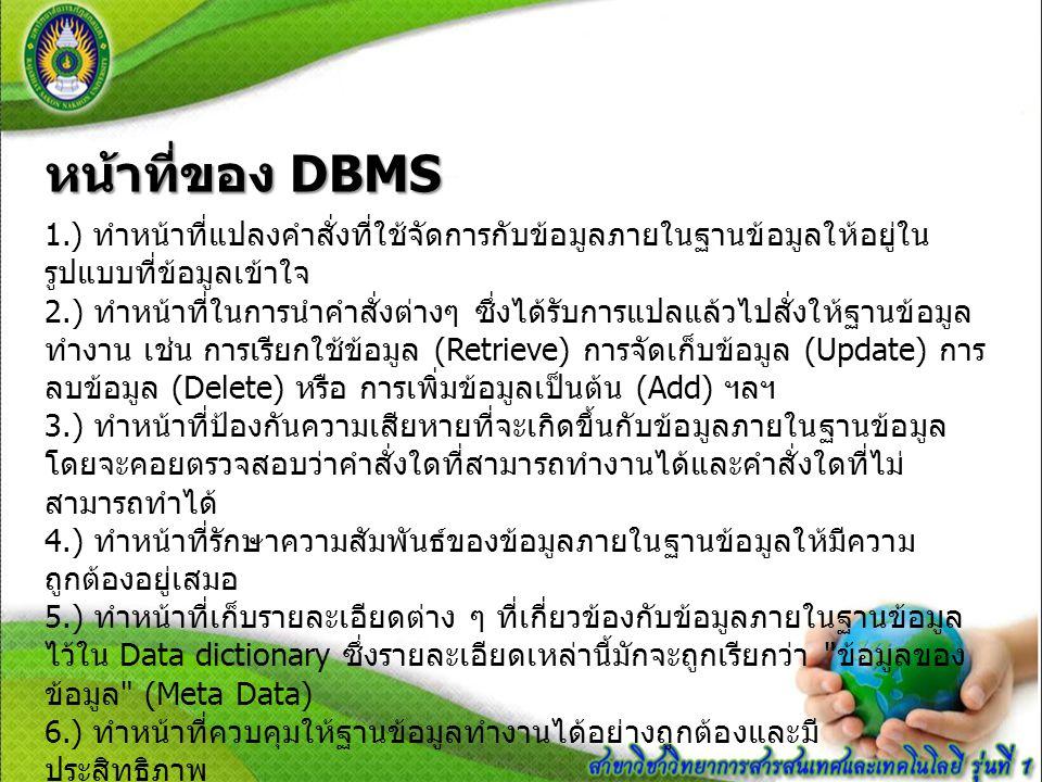 หน้าที่ของ DBMS 1.) ทำหน้าที่แปลงคำสั่งที่ใช้จัดการกับข้อมูลภายในฐานข้อมูลให้อยู่ใน รูปแบบที่ข้อมูลเข้าใจ 2.) ทำหน้าที่ในการนำคำสั่งต่างๆ ซึ่งได้รับกา