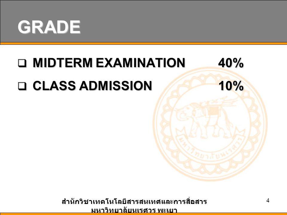 สำนักวิชาเทคโนโลยีสารสนเทศและการสื่อสาร มหาวิทยาลัยนเรศวร พะเยา 4 GRADE  MIDTERM EXAMINATION 40%  CLASS ADMISSION10%