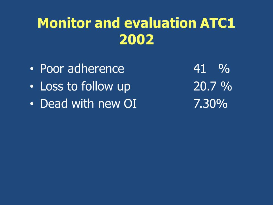 Monitor and evaluation ATC1 2002 Poor adherence 41 % Loss to follow up20.7 % Dead with new OI 7.30%