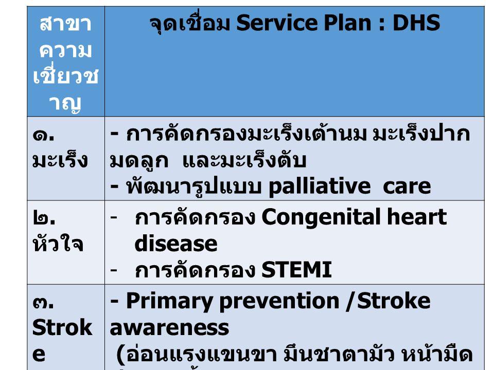 สาขา ความ เชี่ยวช าญ จุดเชื่อม Service Plan : DHS ๑.