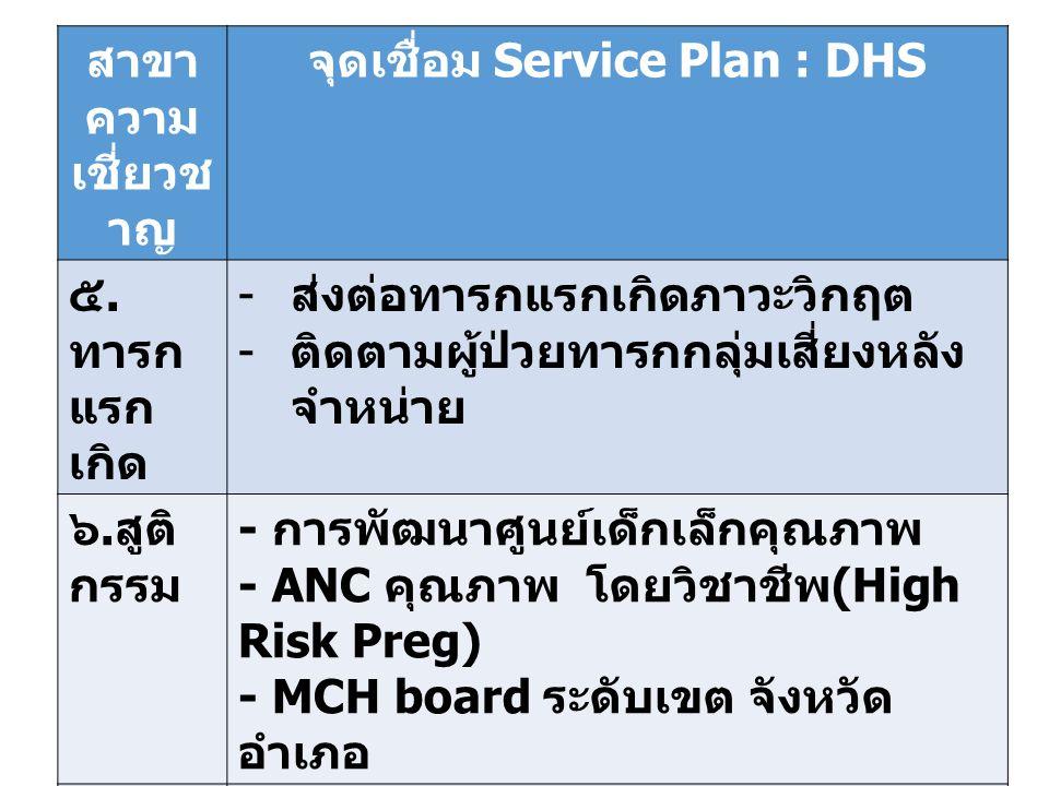 สาขา ความ เชี่ยวช าญ จุดเชื่อม Service Plan : DHS ๕.