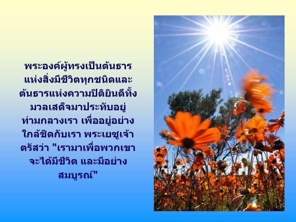 แต่ว่าความรักของพระบิดา การเอ่ยวาจาออกมา และทุกสิ่งก็ถูกสร้างขึ้นนี้ ไม่เป็นการเพียงพอ พระองค์ ยังปรารถนาให้พระวจนาถ ทรงรับเอากายเป็นมนุษย์ พระเป็นเจ้าพระเจ้าแท้แต่ผู้ เดียวทรงรับสภาพมนุษย์ใน องค์พระเยซูเจ้า ทรงนำต้น ธารแห่งชีวิตเข้ามาสู่โลก