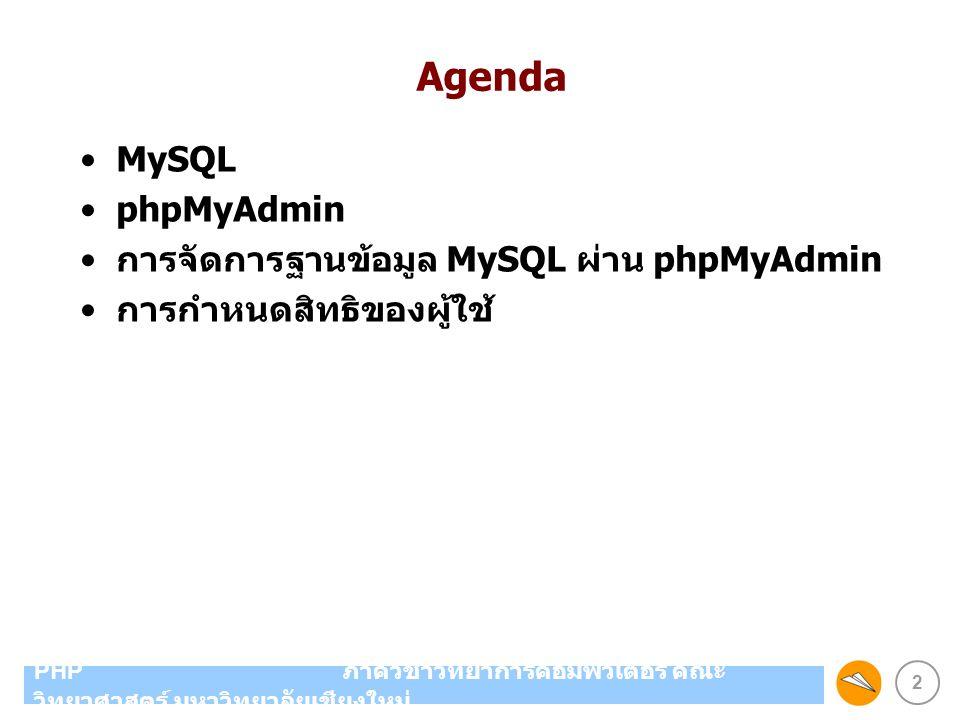 2 PHP ภาควิชาวิทยาการคอมพิวเตอร์ คณะ วิทยาศาสตร์ มหาวิทยาลัยเชียงใหม่ Agenda MySQL phpMyAdmin การจัดการฐานข้อมูล MySQL ผ่าน phpMyAdmin การกำหนดสิทธิขอ
