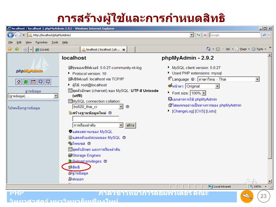 23 PHP ภาควิชาวิทยาการคอมพิวเตอร์ คณะ วิทยาศาสตร์ มหาวิทยาลัยเชียงใหม่ การสร้างผู้ใช้และการกำหนดสิทธิ