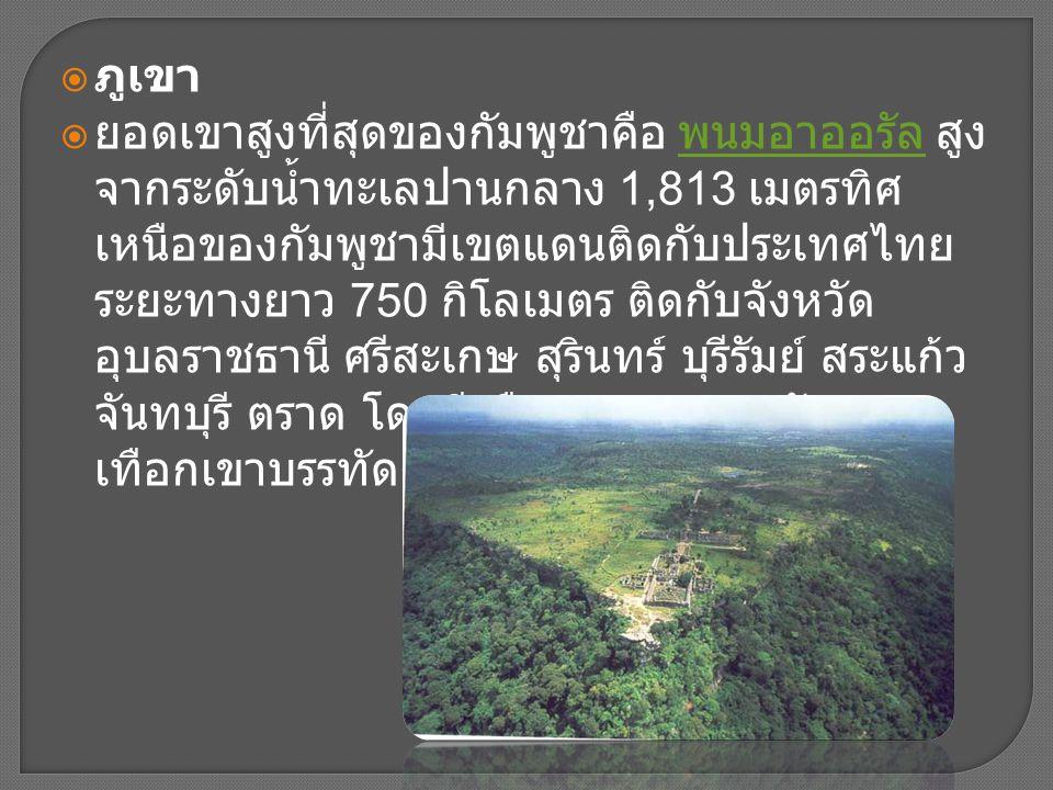  ภูเขา  ยอดเขาสูงที่สุดของกัมพูชาคือ พนมอาออรัล สูง จากระดับน้ำทะเลปานกลาง 1,813 เมตรทิศ เหนือของกัมพูชามีเขตแดนติดกับประเทศไทย ระยะทางยาว 750 กิโลเ