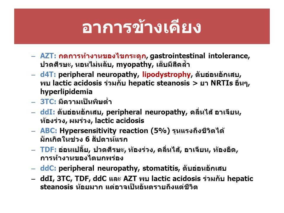 อาการข้างเคียง – AZT: กดการทำงานของไขกระดูก, gastrointestinal intolerance, ปวดศีรษะ, นอนไม่หลับ, myopathy, เล็บมีสีคล้ำ – d4T: peripheral neuropathy,