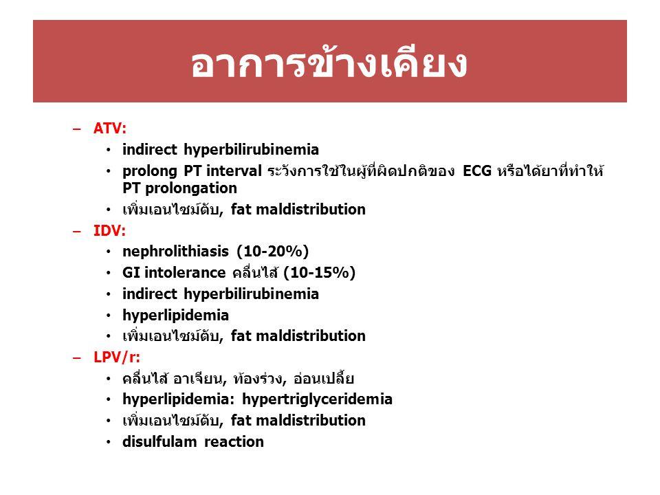 อาการข้างเคียง – ATV: indirect hyperbilirubinemia prolong PT interval ระวังการใช้ในผู้ที่ผิดปกติของ ECG หรือได้ยาที่ทำให้ PT prolongation เพิ่มเอนไซม์