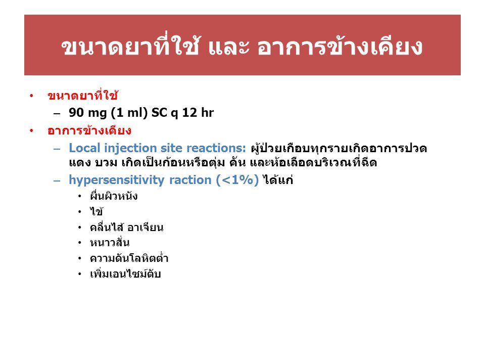 ขนาดยาที่ใช้ และ อาการข้างเคียง ขนาดยาที่ใช้ – 90 mg (1 ml) SC q 12 hr อาการข้างเคียง – Local injection site reactions: ผู้ป่วยเกือบทุกรายเกิดอาการปวด