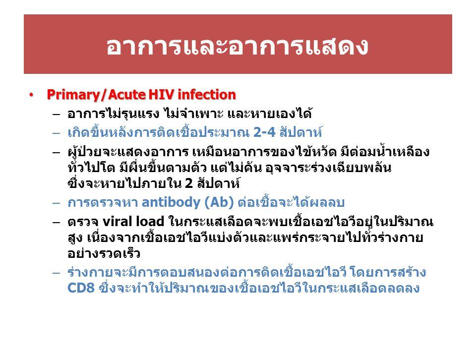 อาการและอาการแสดง Primary/Acute HIV infection Primary/Acute HIV infection – อาการไม่รุนแรง ไม่จำเพาะ และหายเองได้ – เกิดขึ้นหลังการติดเชื้อประมาณ 2-4