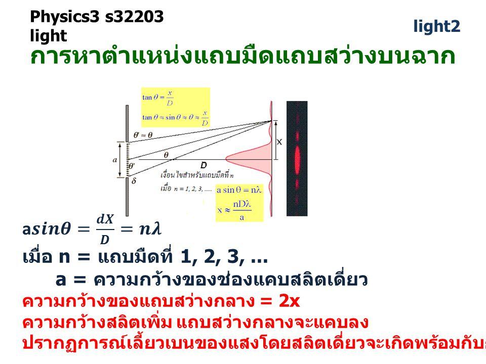 Physics3 s32203 light light2 การหาตำแหน่งแถบมืดแถบสว่างบนฉาก