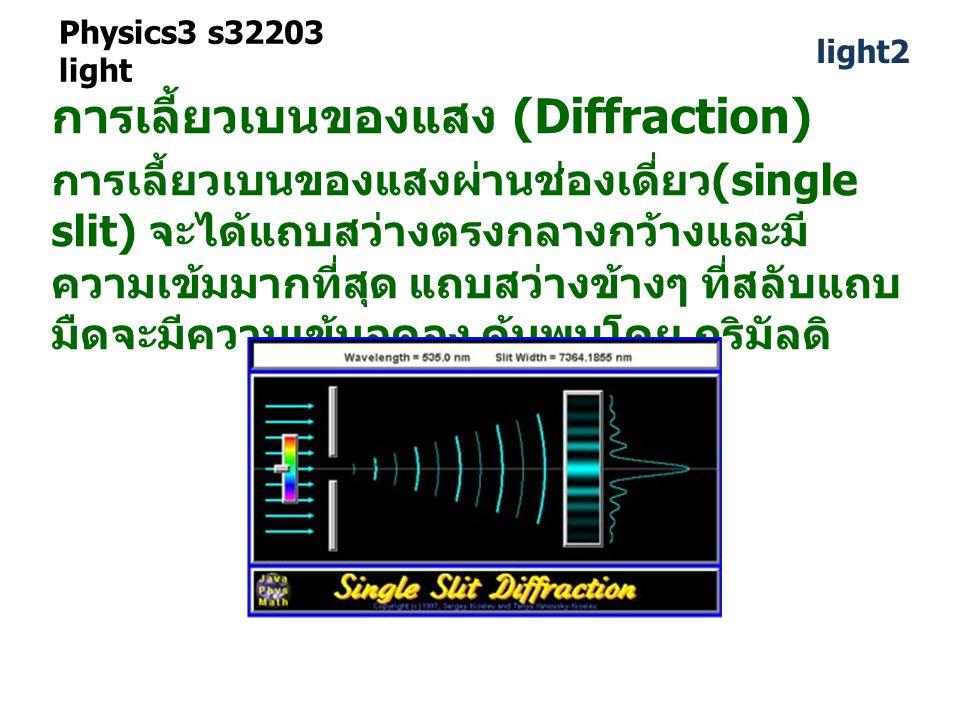 Physics3 s32203 light การเลี้ยวเบนของแสง (Diffraction) การเลี้ยวเบนของแสงผ่านช่องเดี่ยว (single slit) จะได้แถบสว่างตรงกลางกว้างและมี ความเข้มมากที่สุด แถบสว่างข้างๆ ที่สลับแถบ มืดจะมีความเข้มลดลง ค้นพบโดย กริมัลดิ light2