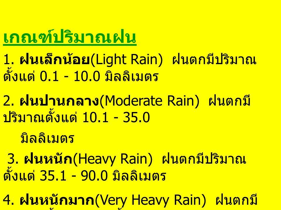เกณฑ์การกระจายของฝน 1. ฝนบางพื้นที่ (Isolated) หมายถึง มีฝนตก น้อยกว่า 20% ของพื้นที่ 2.