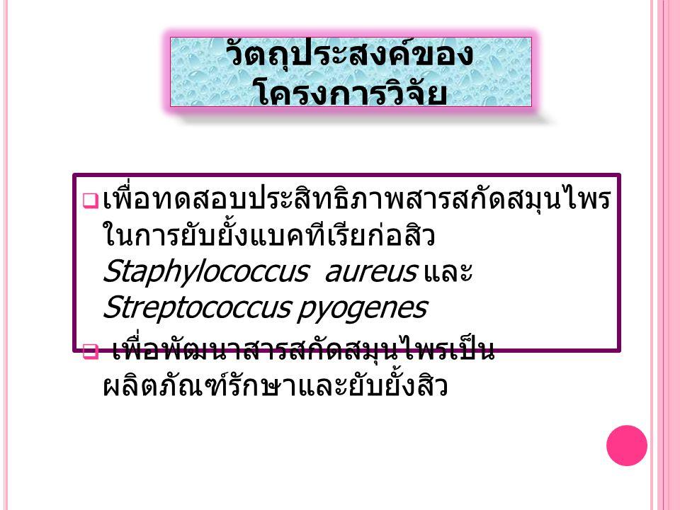วัตถุประสงค์ของ โครงการวิจัย  เพื่อทดสอบประสิทธิภาพสารสกัดสมุนไพร ในการยับยั้งแบคทีเรียก่อสิว Staphylococcus aureus และ Streptococcus pyogenes  เพื่