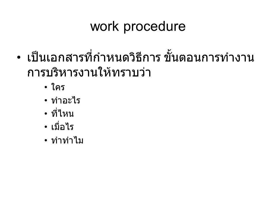 work procedure เป็นเอกสารที่กำหนดวิธีการ ขั้นตอนการทำงาน การบริหารงานให้ทราบว่า ใคร ทำอะไร ที่ไหน เมื่อไร ทำทำไม