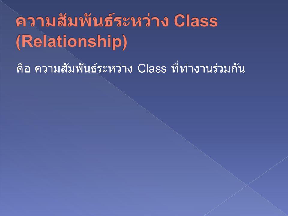 คือ ความสัมพันธ์ระหว่าง Class ที่ทำงานร่วมกัน