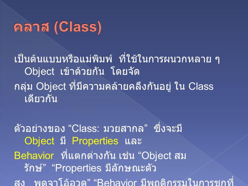 เป็นต้นแบบหรือแม่พิมพ์ ที่ใช้ในการผนวกหลาย ๆ Object เข้าด้วยกัน โดยจัด กลุ่ม Object ที่มีความคล้ายคลึงกันอยู่ ใน Class เดียวกัน ตัวอย่างของ Class: มวยสากล ซึ่งจะมี Object มี Properties และ Behavior ที่แตกต่างกัน เช่น Object สม รักษ์ Properties มีลักษณะตัว สูง พูดจาโอ้อวด Behavior มีพฤติกรรมในการชกที่ สามารถออกหมัดได้เร็ว และ แม่นยำ ซึ่ง Properties และ Behavior นี้ก็จะมี ลักษณะที่แตกต่างไป จาก Object สามารถ
