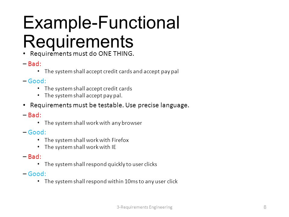 Non-functional requirements These define system properties and constraints e.g.
