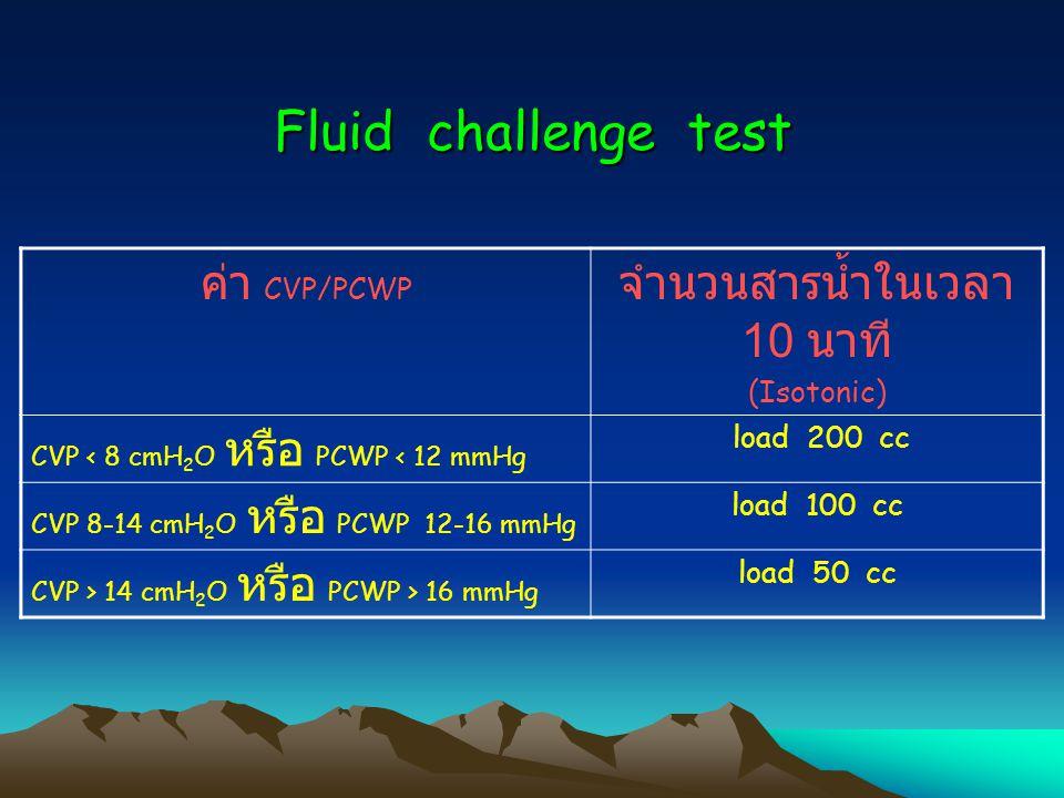 Fluid challenge test ค่า CVP/PCWP จำนวนสารน้ำในเวลา 10 นาที (Isotonic) CVP < 8 cmH 2 O หรือ PCWP < 12 mmHg load 200 cc CVP 8-14 cmH 2 O หรือ PCWP 12-16 mmHg load 100 cc CVP > 14 cmH 2 O หรือ PCWP > 16 mmHg load 50 cc
