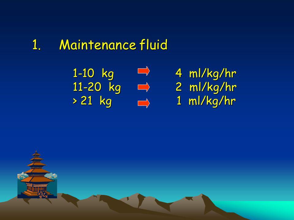1.Maintenance fluid 1-10 kg 4 ml/kg/hr 11-20 kg 2 ml/kg/hr > 21 kg 1 ml/kg/hr