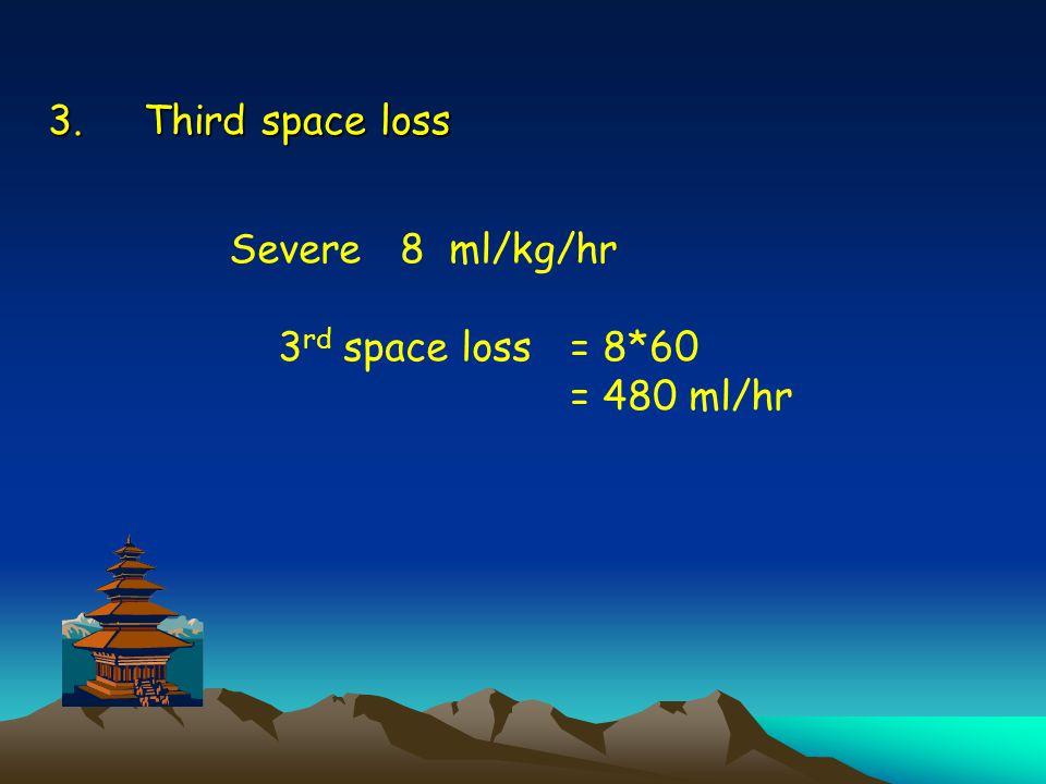 3.Third space loss Severe 8 ml/kg/hr 3 rd space loss = 8*60 = 480 ml/hr