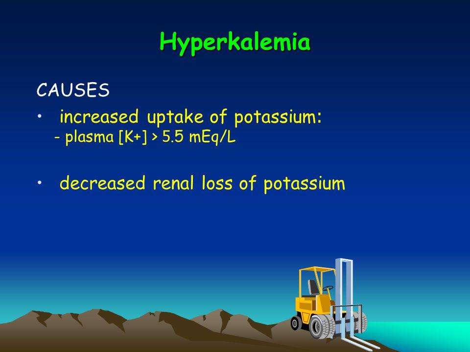 Hyperkalemia CAUSES increased uptake of potassium: - plasma [K+] > 5.5 mEq/L decreased renal loss of potassium