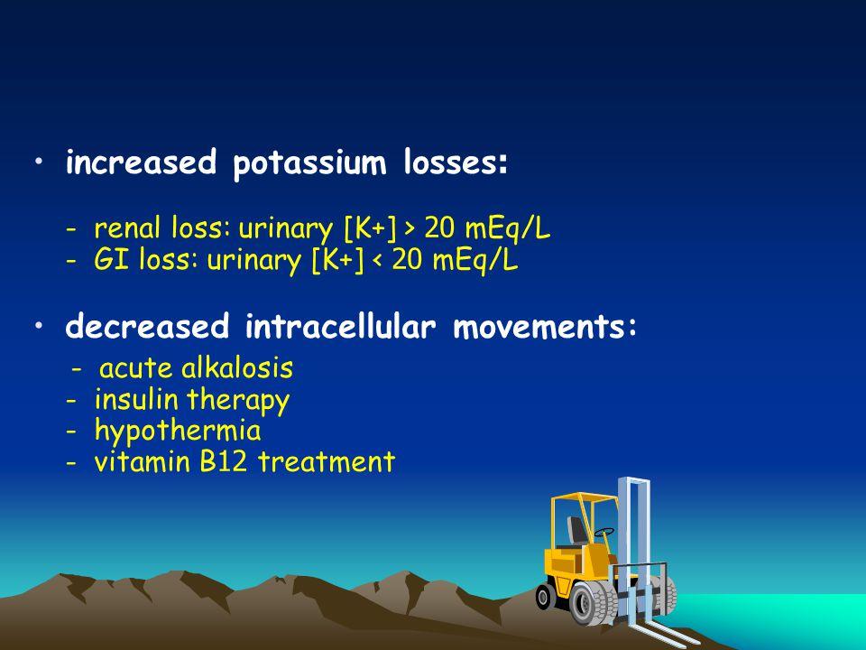increased potassium losses: - renal loss: urinary [K+] > 20 mEq/L - GI loss: urinary [K+] < 20 mEq/L decreased intracellular movements: - acute alkalosis - insulin therapy - hypothermia - vitamin B12 treatment