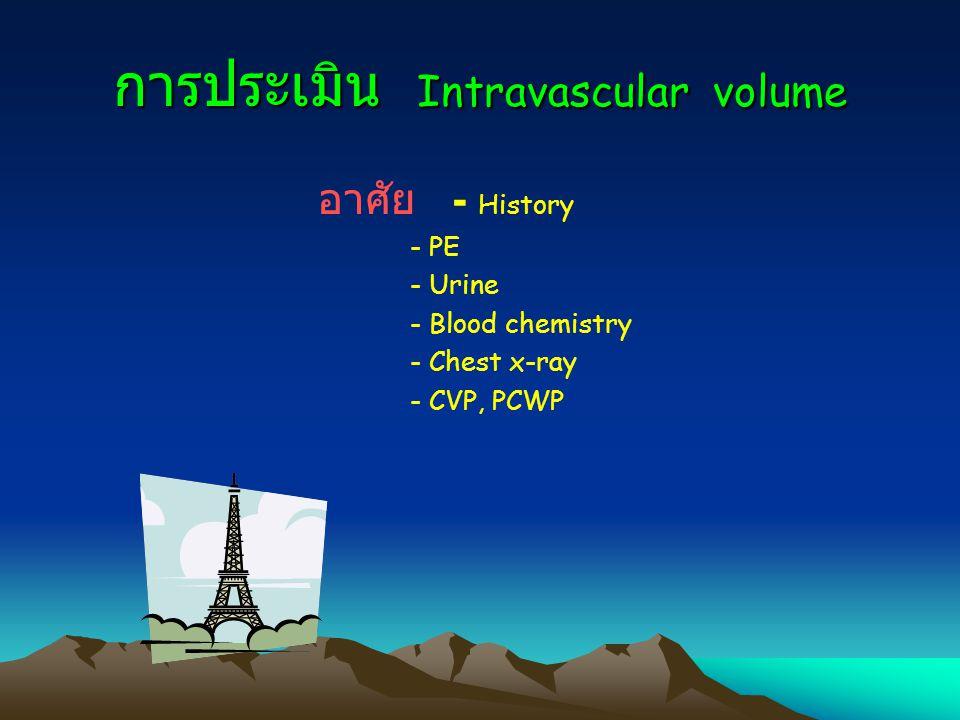 การประเมิน Intravascular volume อาศัย - History - PE - Urine - Blood chemistry - Chest x-ray - CVP, PCWP