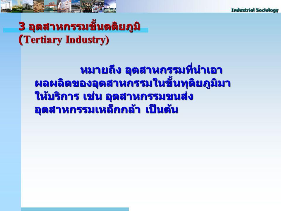 Industrial Sociology 3 อุตสาหกรรมขั้นตติยภูมิ (Tertiary Industry) หมายถึง อุตสาหกรรมที่นําเอา ผลผลิตของอุตสาหกรรมในขั้นทุติยภูมิมา ให้บริการ เช่น อุตสาหกรรมขนส่ง อุตสาหกรรมเหล็กกล้า เป็นต้น