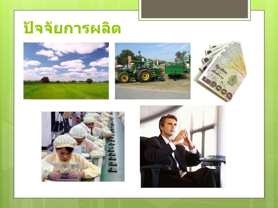  ปัจจัยการผลิต ในทางเศรษฐศาสตร์ได้มีการแบ่ง ปัจจัยการผลิต ออกเป็น 4 ประเภท ดังนี้ 1) ที่ดิน คือ พื้นดินที่ใช้ในการเพาะปลูกหรือใช้ ประกอบกิจการต่างๆ เช่น ใช้เป็นที่ตั้งโรงงาน รวมไป ถึงทรัพยากรธรรมชาติที่เกิดใต้ดิน บนดิน หรือเหนือ พื้นดินเข้าไว้ด้วยกัน เช่น แร่ธาตุ ป่าไม้ อากาศ  โดยมีผลตอบแทนของผู้เป็นเจ้าของที่ดิน คือ ค่า เช่า