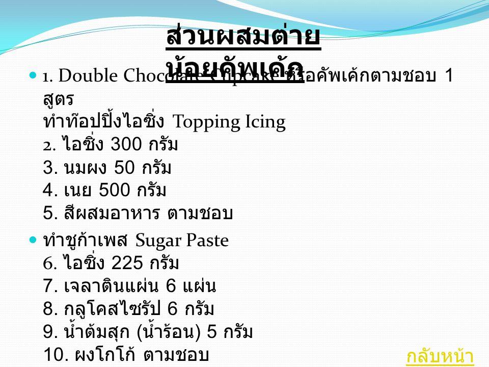 1. Double Chocolate Cupcake หรือคัพเค้กตามชอบ 1 สูตร ทำท๊อปปิ้งไอซิ่ง Topping Icing 2. ไอซิ่ง 300 กรัม 3. นมผง 50 กรัม 4. เนย 500 กรัม 5. สีผสมอาหาร ต