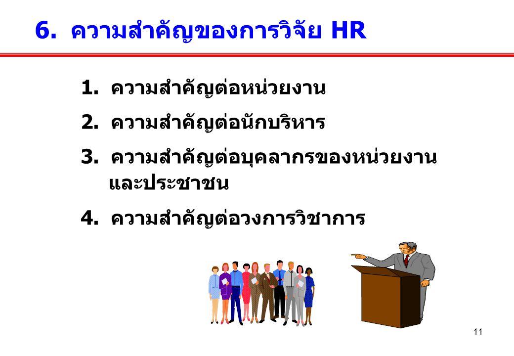 11 1. ความสำคัญต่อหน่วยงาน 2. ความสำคัญต่อนักบริหาร 3. ความสำคัญต่อบุคลากรของหน่วยงาน และประชาชน 4. ความสำคัญต่อวงการวิชาการ 6. ความสำคัญของการวิจัย H