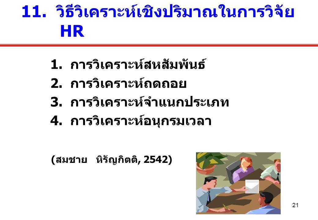 21 1. การวิเคราะห์สหสัมพันธ์ 2. การวิเคราะห์ถดถอย 3. การวิเคราะห์จำแนกประเภท 4. การวิเคราะห์อนุกรมเวลา 11. วิธีวิเคราะห์เชิงปริมาณในการวิจัย HR (สมชาย