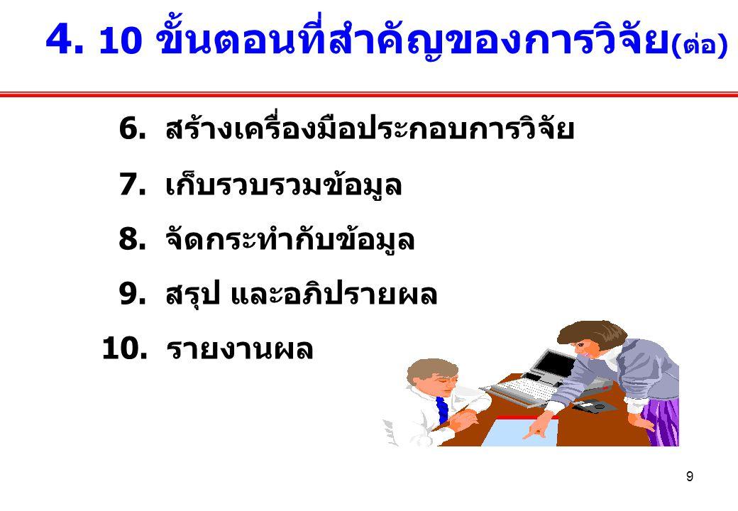 9 6. สร้างเครื่องมือประกอบการวิจัย 7. เก็บรวบรวมข้อมูล 8. จัดกระทำกับข้อมูล 9. สรุป และอภิปรายผล 10. รายงานผล 4. 10 ขั้นตอนที่สำคัญของการวิจัย (ต่อ)
