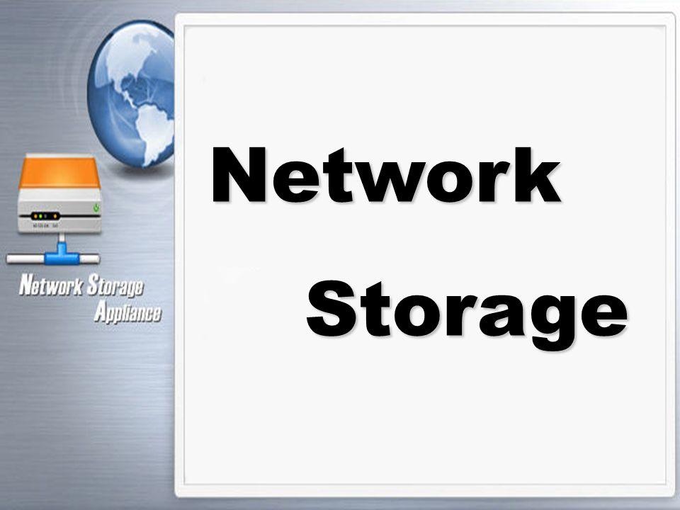 Network - Attached Storage [NAS] Network-Attached Storage (NAS) เป็นการจัดเก็บข้อมูลดิจิตอลรูปแบบใหม่ โดยผ่านทาง Network หรือ Internet เป็นวิธีที่ง่ายในการเพิ่มอุปกรณ์เก็บ ข้อมูลให้กับเน็ตเวิร์กขององค์กร โดยที่ NAS ไม่ได้มี ความสามารถในการประมวลผลพิเศษ แต่ว่า NAS เป็น ทางเลือกที่นอกเหนือจากการใช้ไฟล์เซิร์ฟเวอร์ โดยที่มีราคา ถูก และง่ายต่อการใช้มากกว่า ทั้งนี้นอกเหนือจากราคาของ ระบบที่ถูกกว่าการใช้ไฟล์เซิร์ฟเวอร์แล้ว ระบบ NAS นี้ยัง สามารถติดตั้ง ใช้งาน และดูแลได้ง่ายโดยใช้ส่วนติดต่อกับ ผู้ใช้ผ่านโปรแกรมเว็บบราวเซอร์ ผู้ดูแลระบบเน็ตเวิร์กสามารถ ตรวจสอบ และดูแล NAS ได้โดยใช้ซอฟต์แวร์จัดการที่ทำงาน บนเว็บบราวเซอร์ได้ทันที
