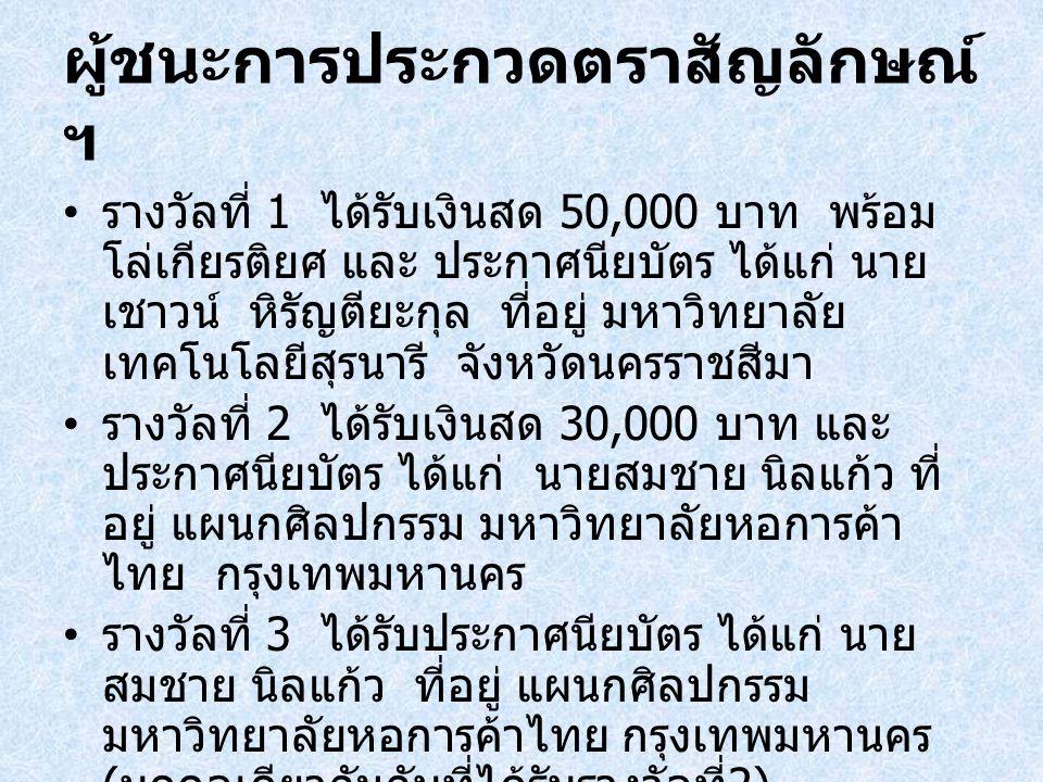 ผู้ชนะการประกวดตราสัญลักษณ์ ฯ รางวัลที่ 1 ได้รับเงินสด 50,000 บาท พร้อม โล่เกียรติยศ และ ประกาศนียบัตร ได้แก่ นาย เชาวน์ หิรัญตียะกุล ที่อยู่ มหาวิทยา