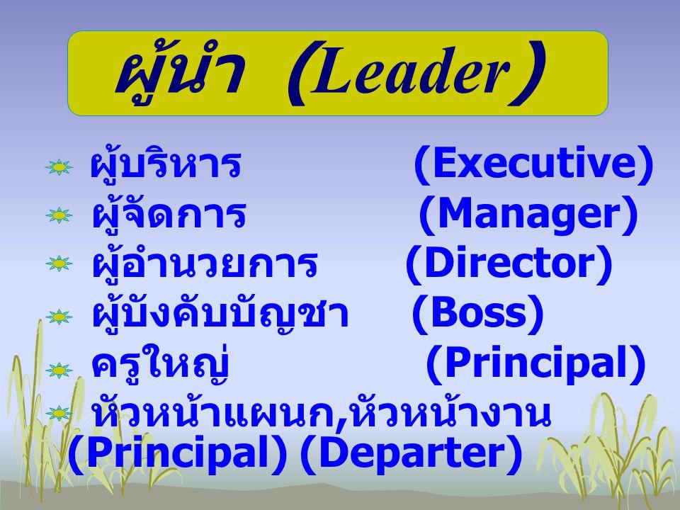 ผู้บริหาร (Executive) ผู้จัดการ (Manager) ผู้อำนวยการ (Director) ผู้บังคับบัญชา (Boss) ครูใหญ่ (Principal) หัวหน้าแผนก, หัวหน้างาน (Principal) (Depart