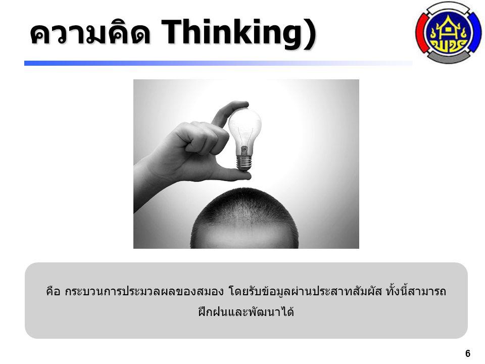 6 ความคิด Thinking) คือ กระบวนการประมวลผลของสมอง โดยรับข้อมูลผ่านประสาทสัมผัส ทั้งนี้สามารถ ฝึกฝนและพัฒนาได้