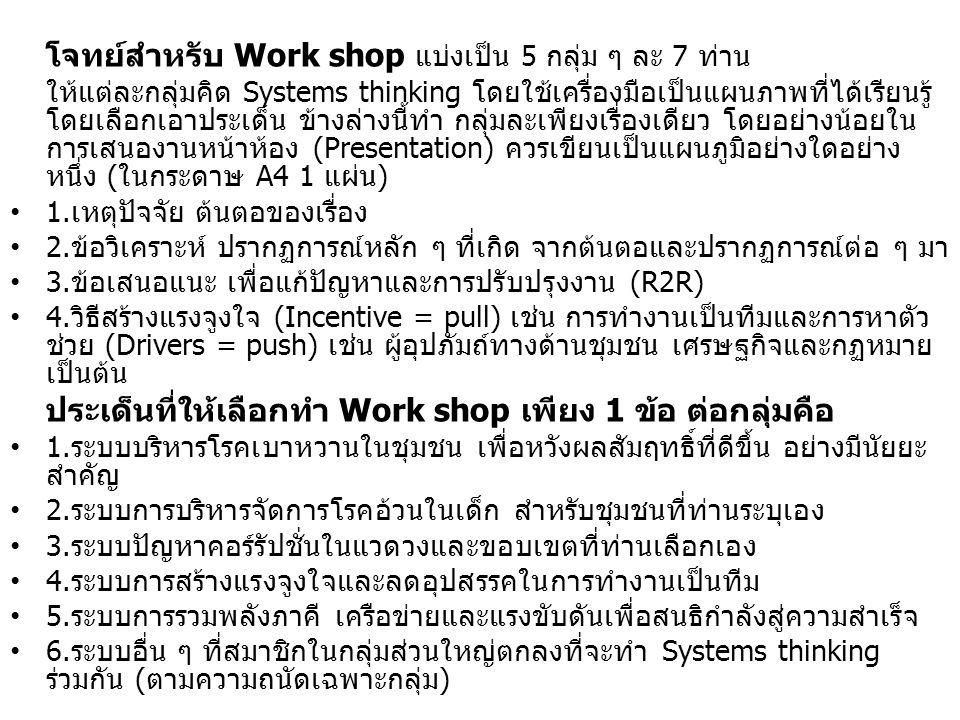 โจทย์สำหรับ Work shop แบ่งเป็น 5 กลุ่ม ๆ ละ 7 ท่าน ให้แต่ละกลุ่มคิด Systems thinking โดยใช้เครื่องมือเป็นแผนภาพที่ได้เรียนรู้ โดยเลือกเอาประเด็น ข้างล