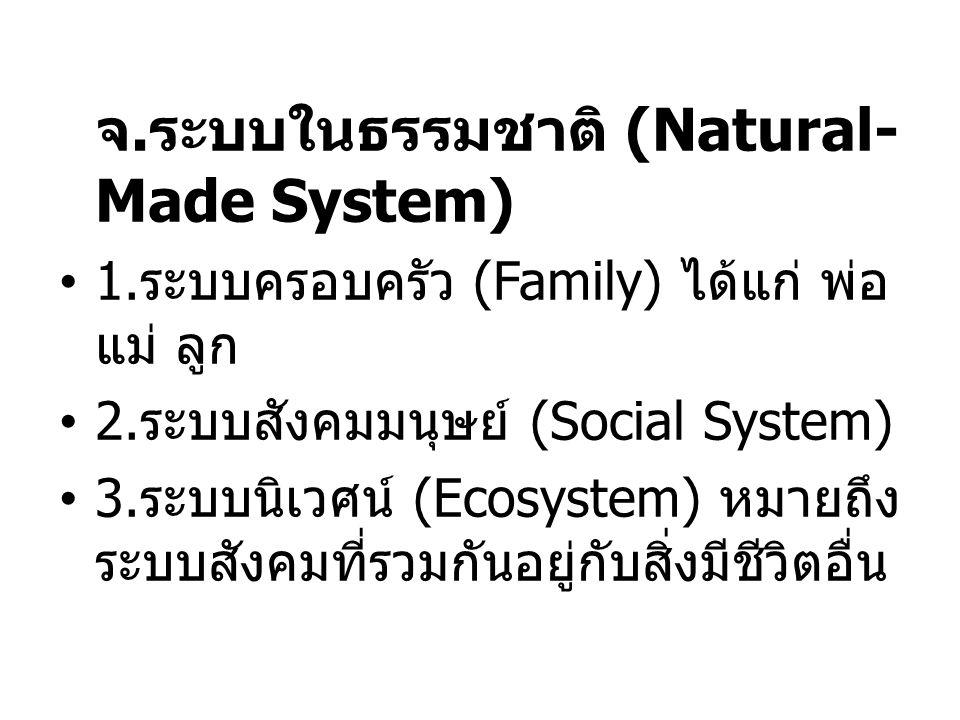 จ.ระบบในธรรมชาติ (Natural- Made System) 1.ระบบครอบครัว (Family) ได้แก่ พ่อ แม่ ลูก 2.ระบบสังคมมนุษย์ (Social System) 3.ระบบนิเวศน์ (Ecosystem) หมายถึง