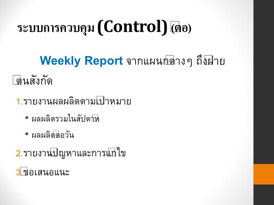 ระบบการควบคุม (Control) ( ต่อ ) Weekly Report จากแผนกต่างๆ ถึงฝ่าย ต้นสังกัด 1.