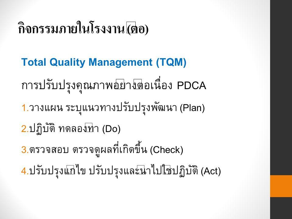 กิจกรรมภายในโรงงาน ( ต่อ ) Total Quality Management (TQM) การปรับปรุงคุณภาพอย่างต่อเนื่อง PDCA 1.
