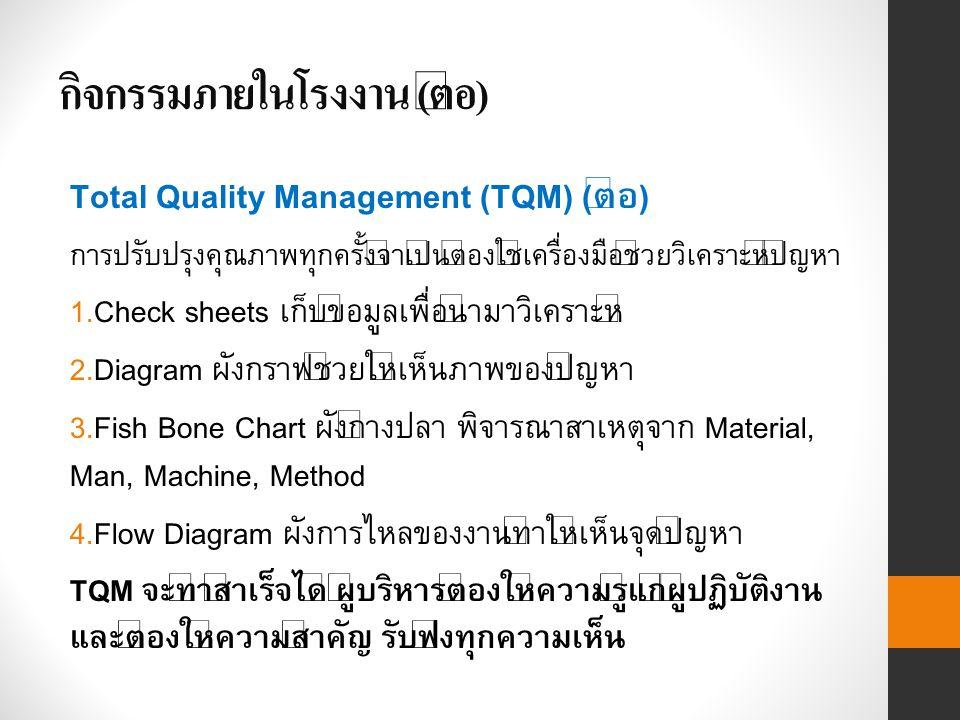 กิจกรรมภายในโรงงาน ( ต่อ ) Total Quality Management (TQM) (ต่อ) การปรับปรุงคุณภาพทุกครั้งจำเป็นต้องใช้เครื่องมือช่วยวิเคราะห์ปัญหา 1.